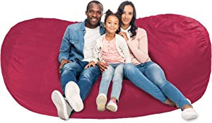 AmazonBasics Memory Foam Filled Bean Bag Lounger with Microfiber Cover - 7', Pink