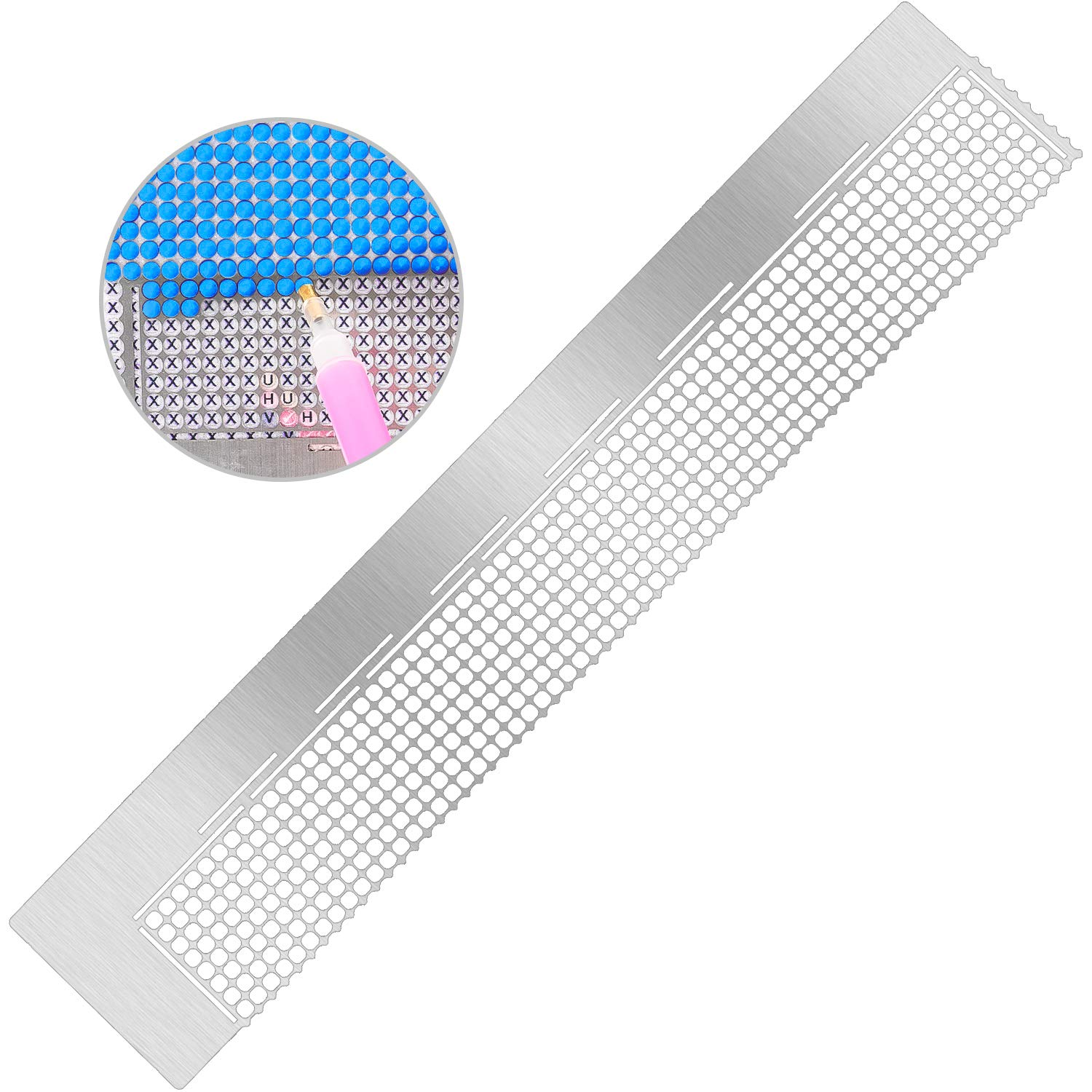 DIY Round Drill Cross-Stitch Tools Stainless Steel CUTICATE 5D Diamond Painting Dot Drill Ruler 216 Holes