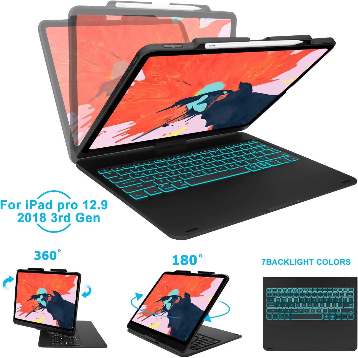 Keyboard Case Compatible iPad Pro 11 inch 2018, [Support Apple Pencil Charging] 360 Degree Rotatable F360BS Auto Sleep Wake Hard Shell Case with 7 Colors Backlit Keyboard-Black