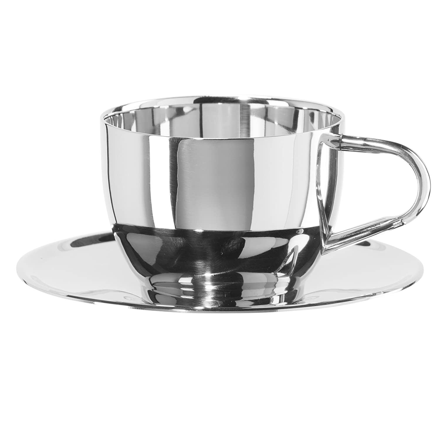 Oggi 6595.0 Double Wall Cappuccino Cup with Saucer (8 oz), Stainless