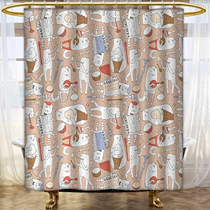 Gloria Johnson Musiccat Shower CurtainCartoon Musician Cute Cats With Drum Accordion Tube
