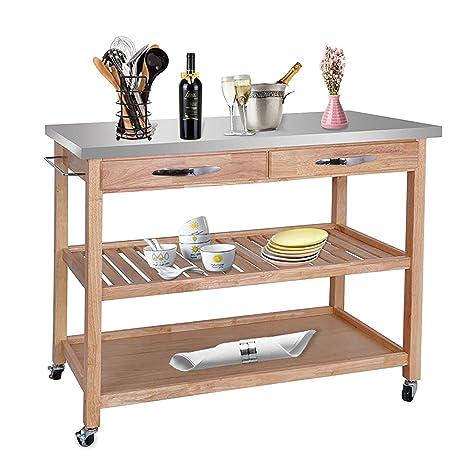 Amazon.com: HomGarden - Carrito de cocina enrollable con ...
