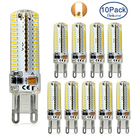 ELINKUME Paquete de 10 Lámparas LED G9, 7W 620LM Blanco cálido 3000K de ahorro de