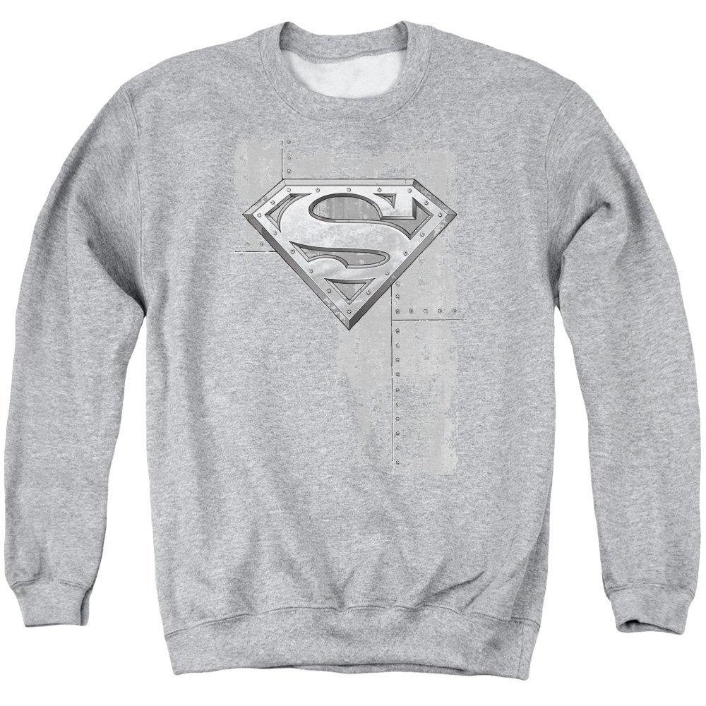 Superman Riveted Metal Adult Crewneck Sweatshirt