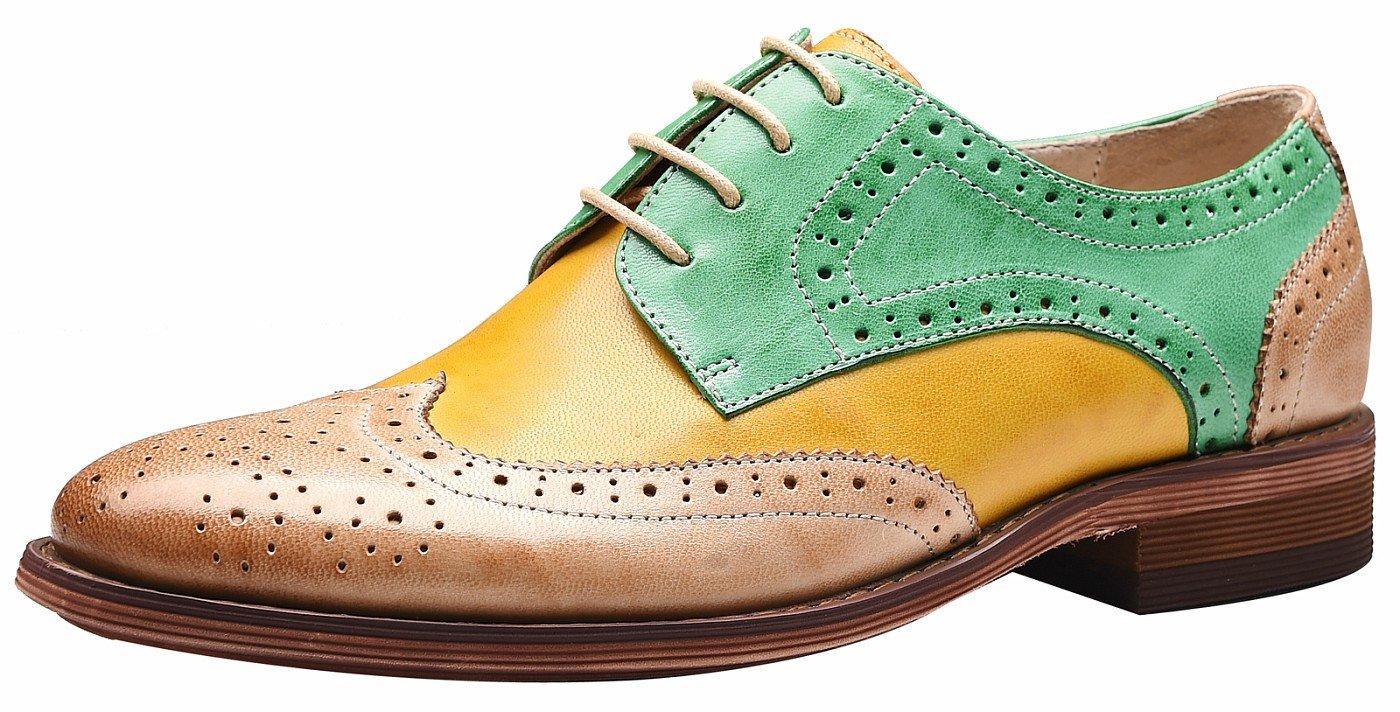 SimpleC Mujer Perforada con Cordones Wingtip Multicolor Cuero Plano Oxfords Vintage Oxford Cómodo Zapatos de Oficina 38.5 EU Verde Amarillo