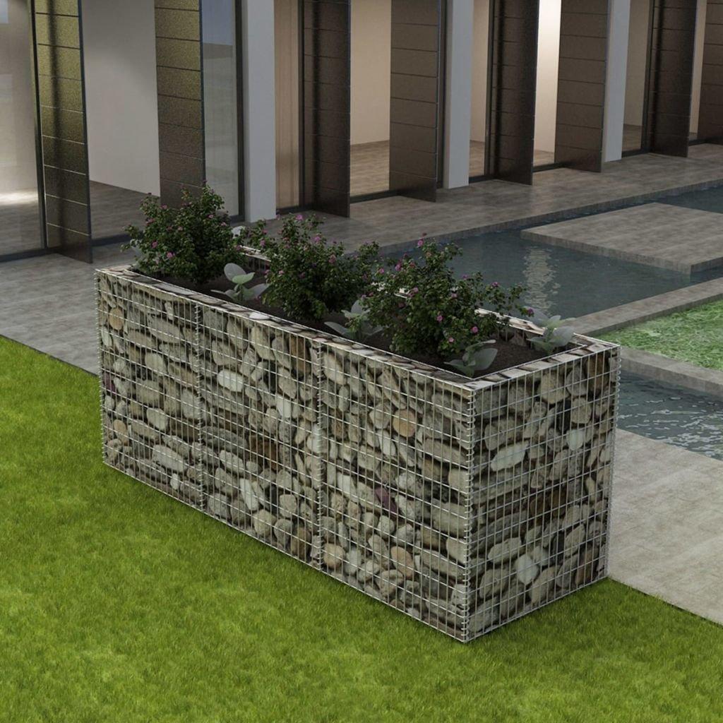 Festnight Gabion Planter Steel Fencing Wire Patio Flower Plant Bed Basket Stone Wire Garden Outdoor Landscape Galvanized Steel Walls Panels (106.3''x35.4''x39.4'')