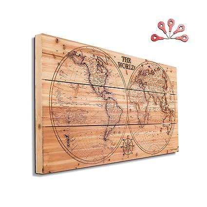Amazon.com: Joe&Lee Classy Laser Engraved Wooden World Map | Graphic ...