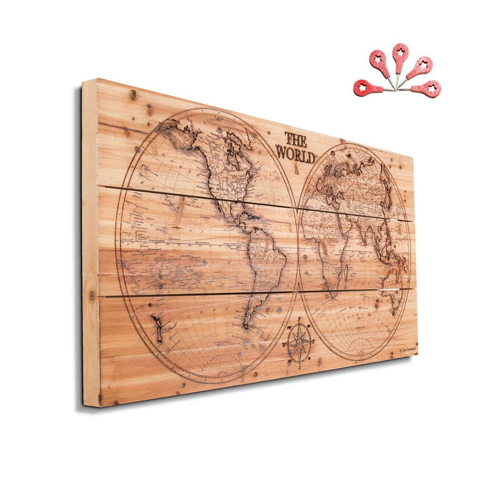 Joe&Lee Classy Laser Engraved Wooden World Map | Graphic Wall Art Home Wall Decor | Room Office Wall Art | Rustic Vintage Farmhouse Style decorations | Travel Push Pin Map | Perfect Artwork Gift Idea