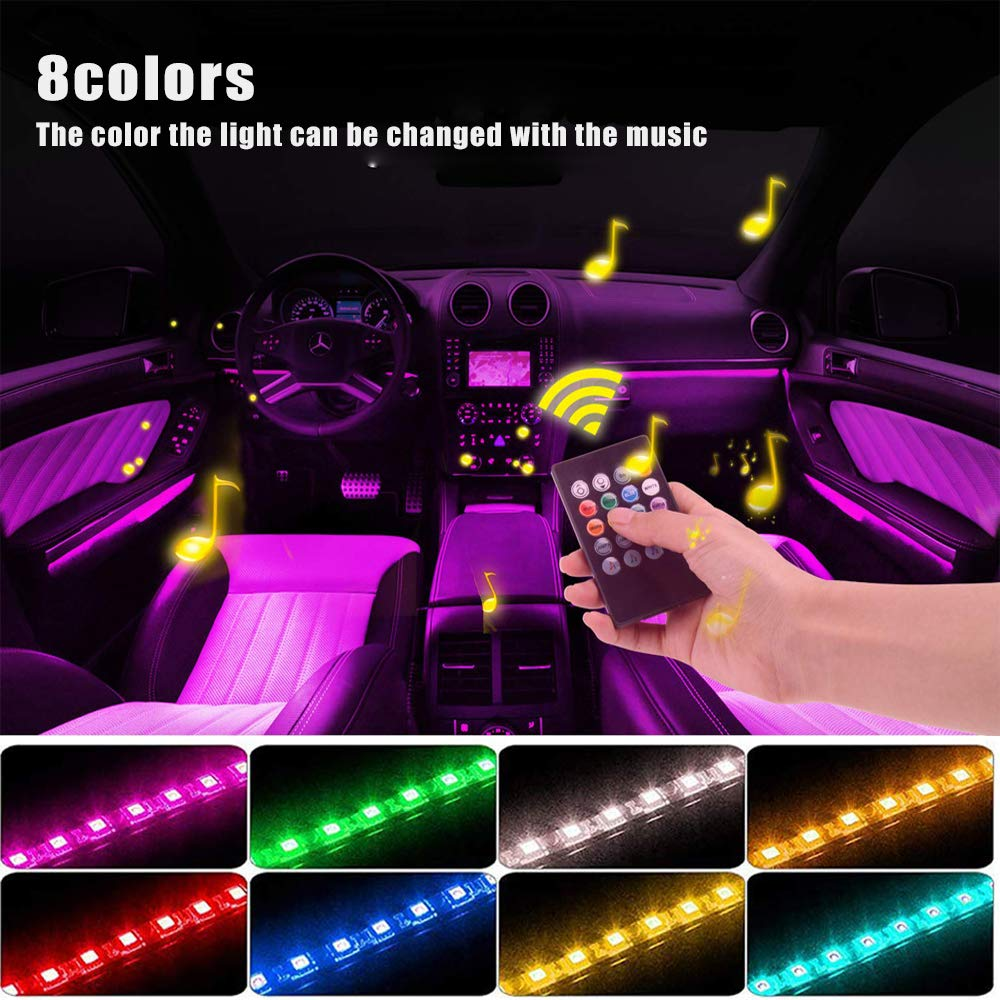 Car Digital Charger Included 4pcs 60 LED DC 12V Multicolor Music Car Strip Light XUNATA Car LED Lights Interior LED Under Dash Lighting Kit with Sound Active Function and Wireless Remote Control