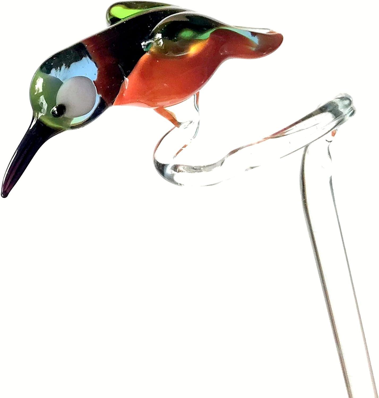 Varilla orquídea hielo pájaro (H de 20) – Flores Escala pérgola con – Figura de cristal Decoración Flores Orquídeas pájaro rojo naranja azul verde: Amazon.es: Hogar
