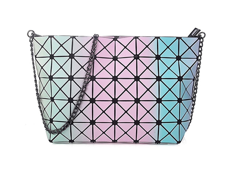 BeautyWJY Rainbow Hologram Tote Shoulder Bag Lightweight Laser PU Leather Purse