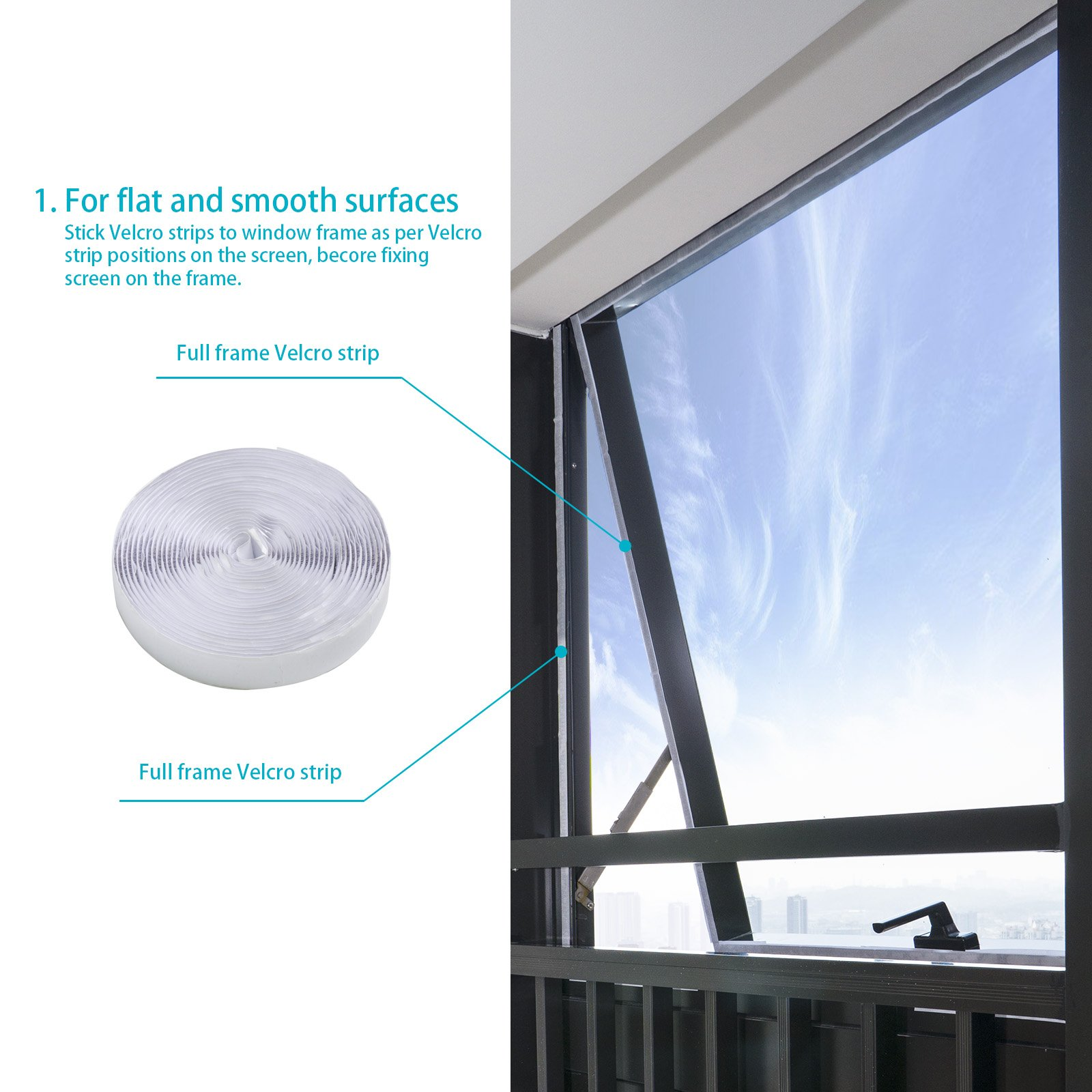 HOOMEE 300 cm Universal Window Seal for Portable Air Conditioner and Tumble Dryer – Works with Every Mobile Air-Conditioning Unit, Easy to Install - Air Exchange Guards with Zip and Adhesive Fastener by HOOMEE (Image #3)
