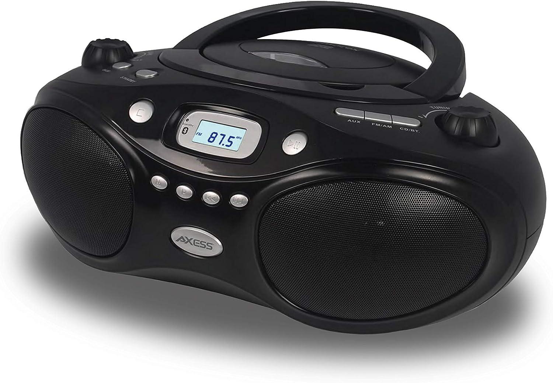 Axess Top-Loading Portable Boombox Cd/Bluetooth Playback Digital AM/FM Radio Player, Home Audio, AUX, Headphone Jack (Black)