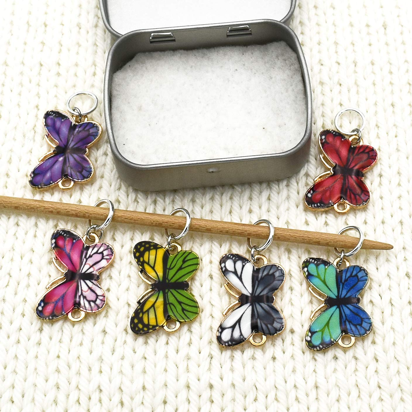 Large Butterfly Stitch Markers up to US 8 Needles