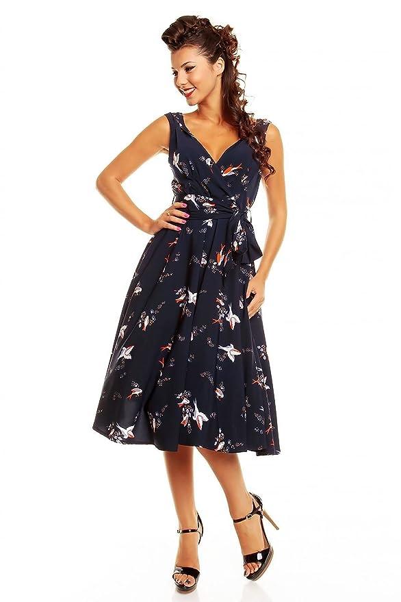 Looking Glam - Vestido - Sin mangas - para mujer azul azul marino: Amazon.es: Ropa y accesorios