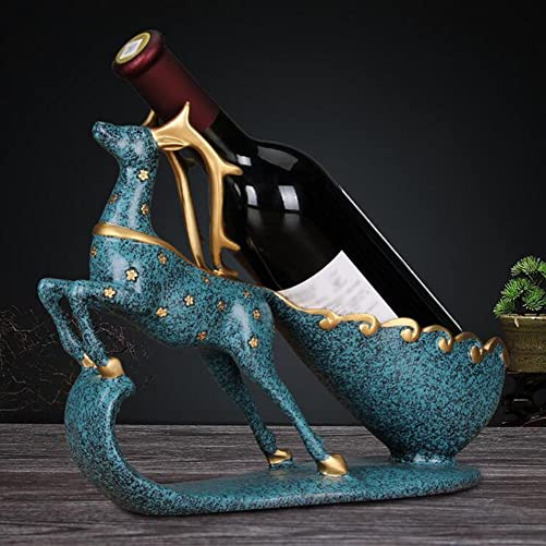 Wine Bottle Holder Statue In Decorative GSJJ-004 Tabletop Wine Racks Elk Decor Sculptures Tabletop Wine Rack Stand