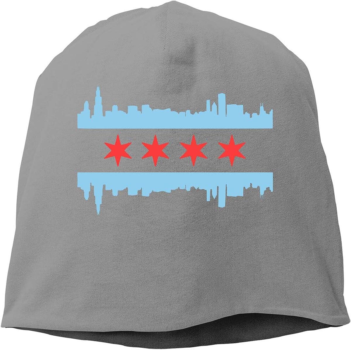 Unisex Chicago City Flag Running Beanie Cap Cuffed Plain Skull Cap Hat
