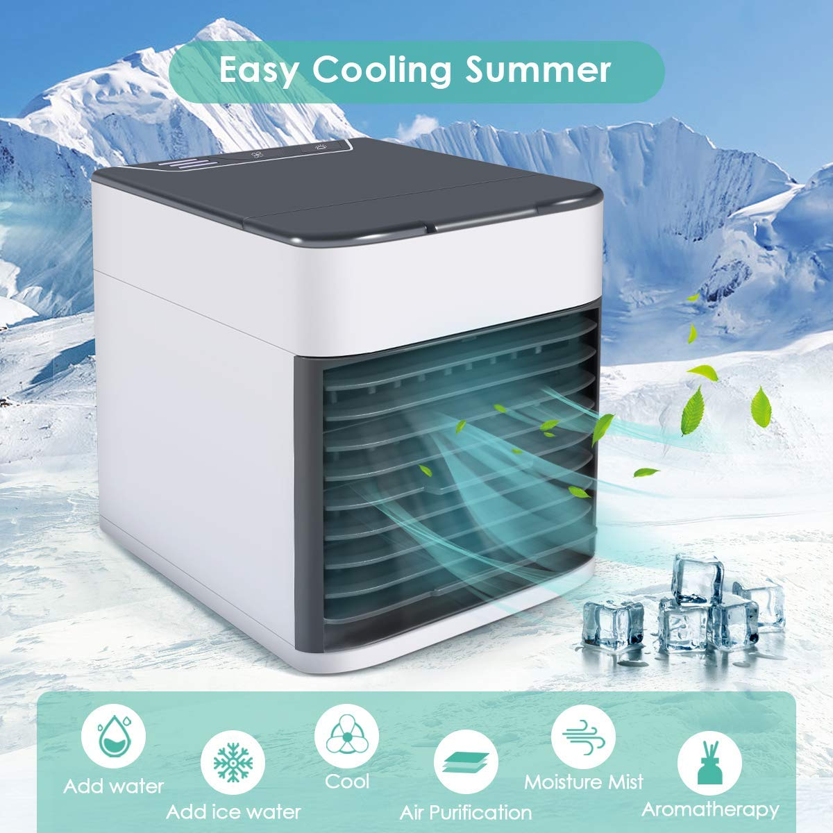 Room Mini Portable Desktop Fan Personal Misting Table Fan Small Evaporative Air Cooler Circulator Humidifier for Office Outdoor Dorm Personal Space Air Conditioner