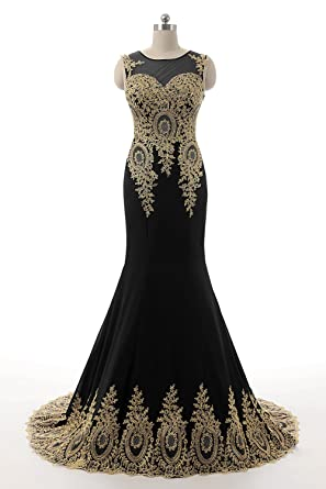 HONGFUYU Womens Gorgeous Long Formal Evening Dresses Party Prom Gowns Pearl Black-US2