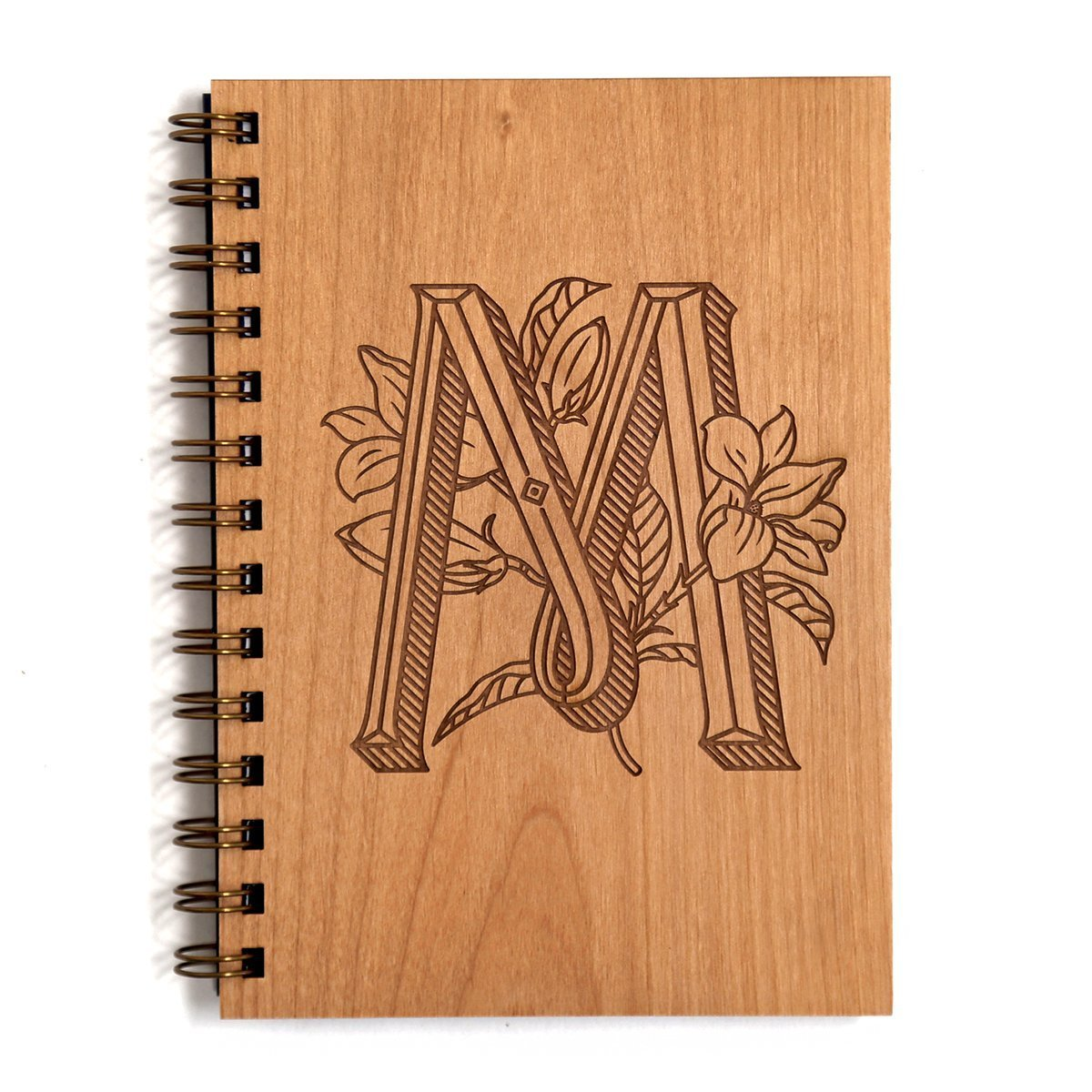 Notebook//Birthday Gift//Gratitude Journal//Mothers Day Gift//Handmade Other Letters Available Floral Monogram M Initial Laser Cut Wood Journal