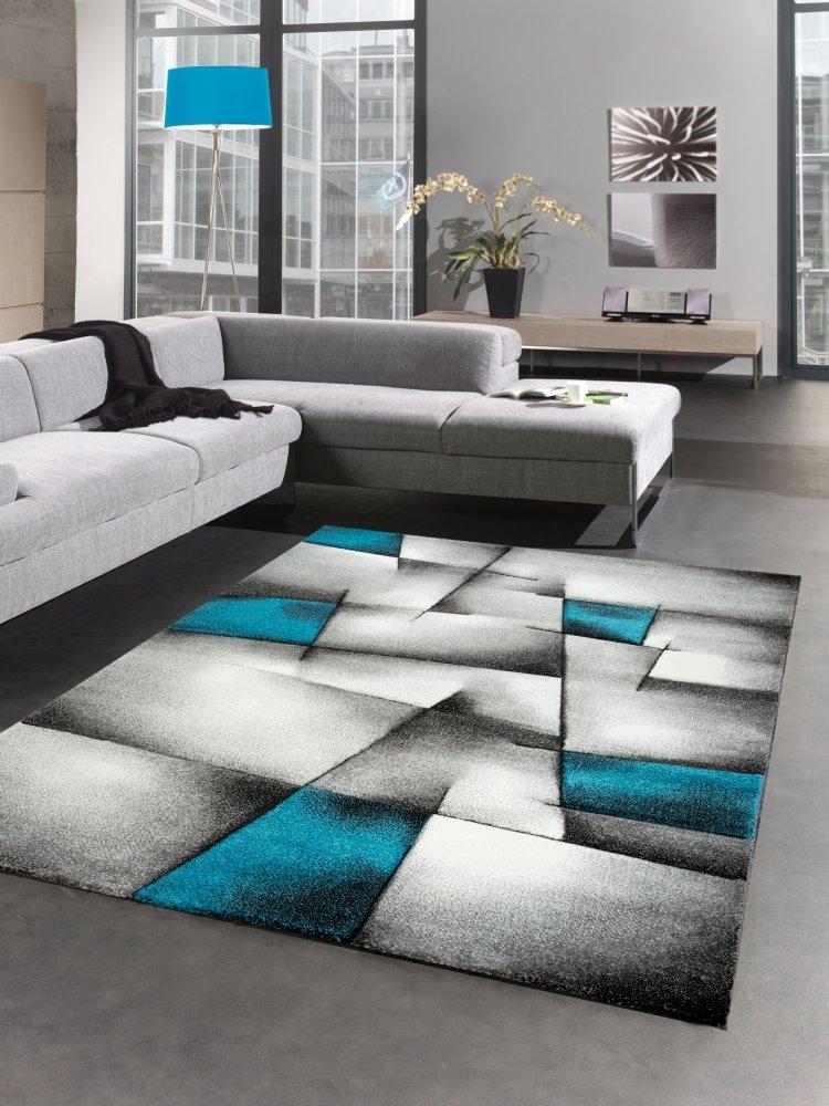 Carpetia Moderner Teppich Kurzflor Wohnzimmerteppich Konturenschnitt karo abstrakt grau schwarz Weiss türkis Größe 120x170 cm