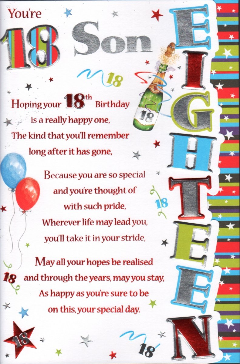 18th Birthday Son Card Youre 18 Son Amazon Office Products