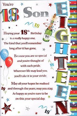 18th birthday son card youre 18 son amazon office products 18th birthday son card youre 18 son bookmarktalkfo Choice Image