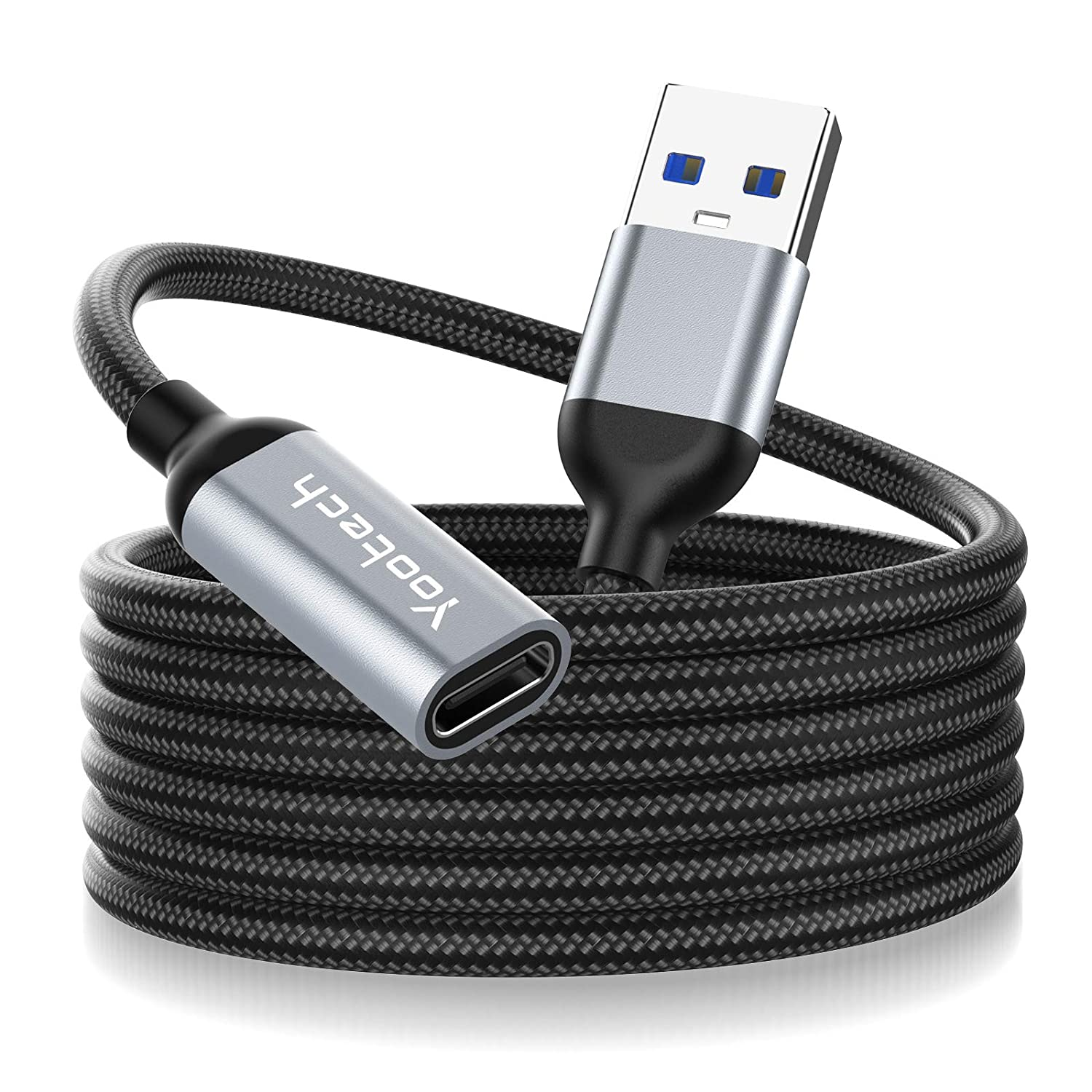 USB 3.1 Extension Cable,Yootech 3.3FT USB Type C Female to USB Male Extension Nylon Cord Adapter Cable,5Gbps Fast Data Transfer Compatible with iPhone 12/12 Pro Max,Galaxy S21,Type-C Cable/Hub/HDD