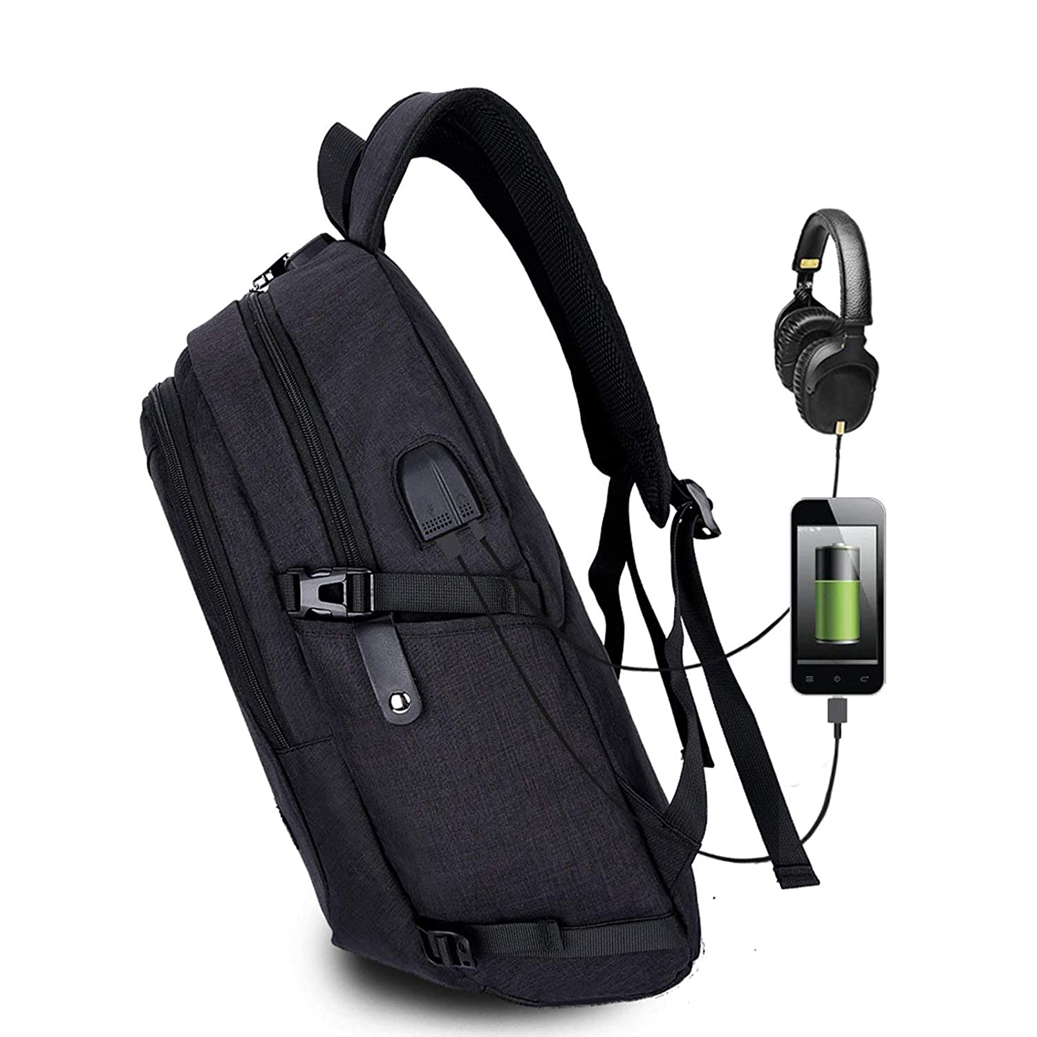 Business Anti Theft Travel Backpack with USB Charging and Headphone Port for Man and Women College Fit 15.6 Inch Laptop Bag Black-2