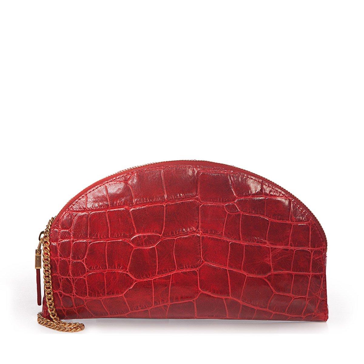Eric Javits Luxury Designer Women's Fashion Handbag - Leather Croissant - Red by Eric Javits
