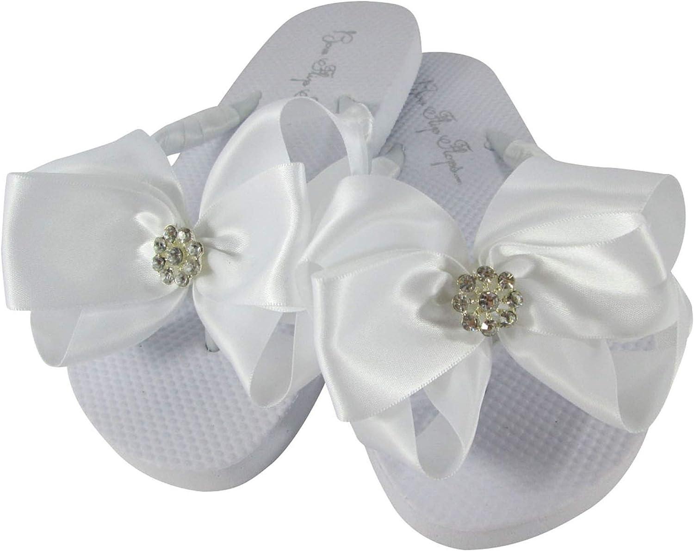 Flower Girls Flip Flop Sandals, White