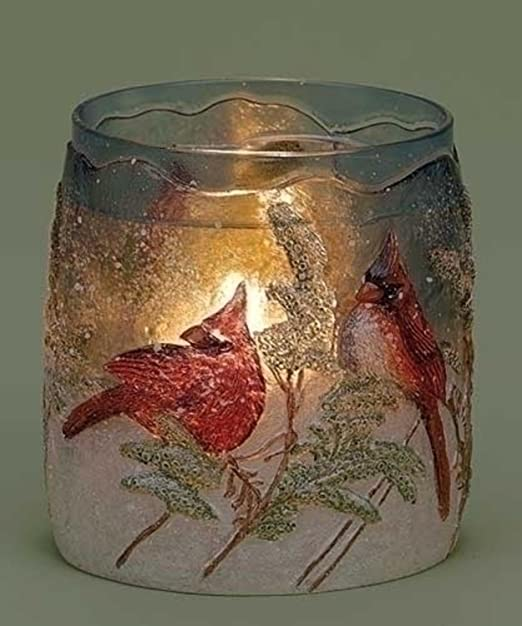 Christmas Tablescape Decor - Red Cardinal Christmas Winter Scene Textured Glass Votive Candle Holder