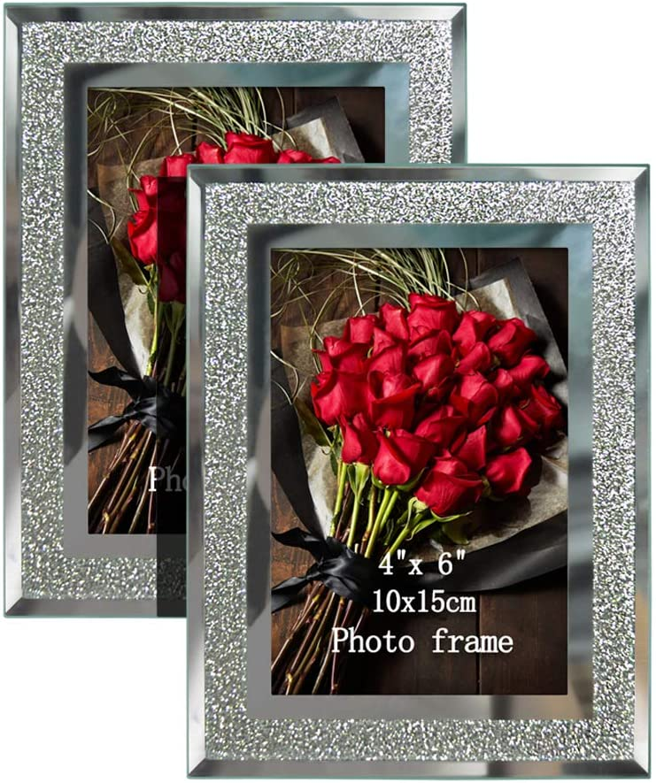 Artsay 4x6 Picture Frames Sparkle Glass Photo Frame Set for Tabletop, 2 Pack