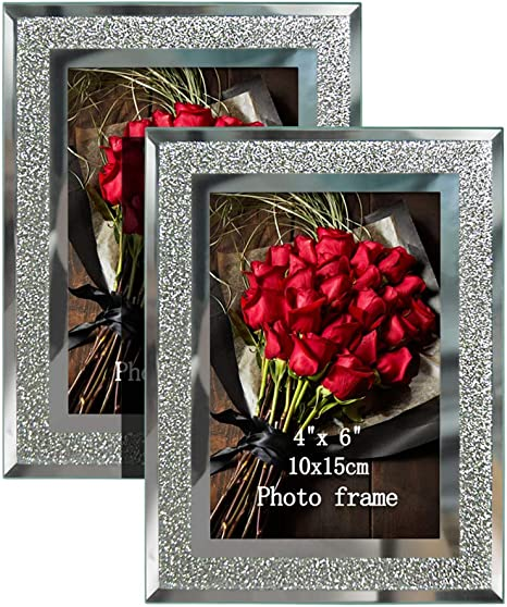 Calenzana 4x6 Picture Frames Sparkle Glass Photo Frame Set For Tabletop 2 Pack