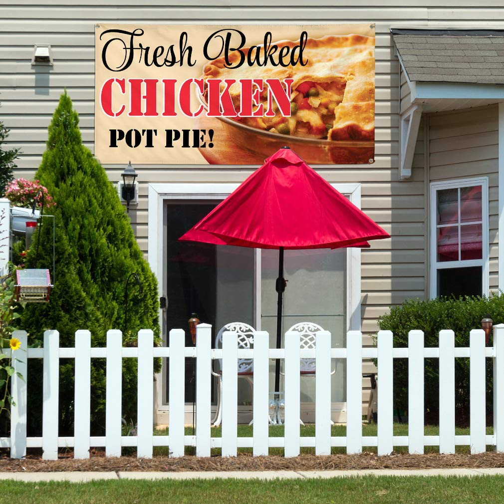 Vinyl Banner Multiple Sizes Fresh Baked Chicken Pot Pie B Business Outdoor Weatherproof Industrial Yard Signs Red 4 Grommets 24x48Inches