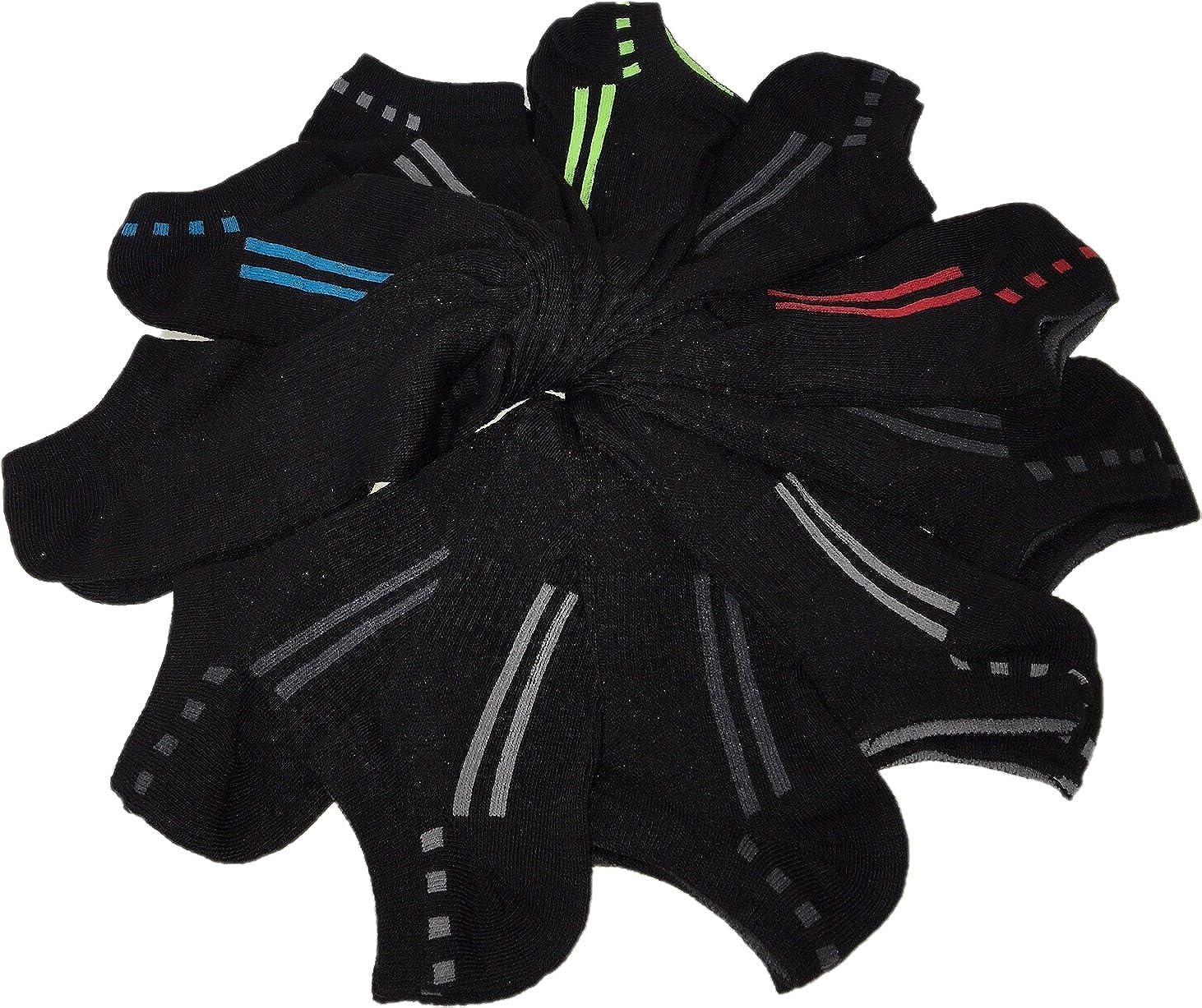 Black Shoe Size: 4-10 Sport Essentials 11 Pairs Boys Socks