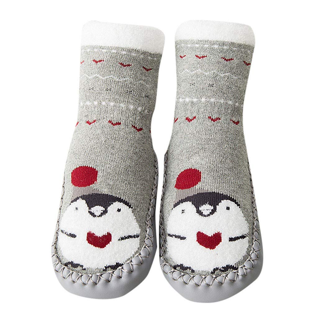 NUWFOR Newborn Baby Boys Girls Cartoon Cute Warm Floor Socks Anti-Slip Baby Step Socks(White,0-10Months)