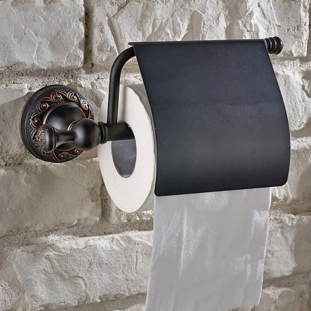 SYTDDP Simple and Stylish Black Pure Copper Bathroom Paper Towel Holder WC Roll Paper Holder Waterproof roll Holder Wall Mount