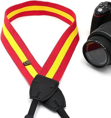 Esp correa para cámara, bandera España Rojo Amarillo el hombro correa de cuello correa ajustable de neopreno para DSLR Canon Fuji Fujifilm Leica Nikon Pentax Olympus Sony Panasonic Pentax Samsung Sigma –