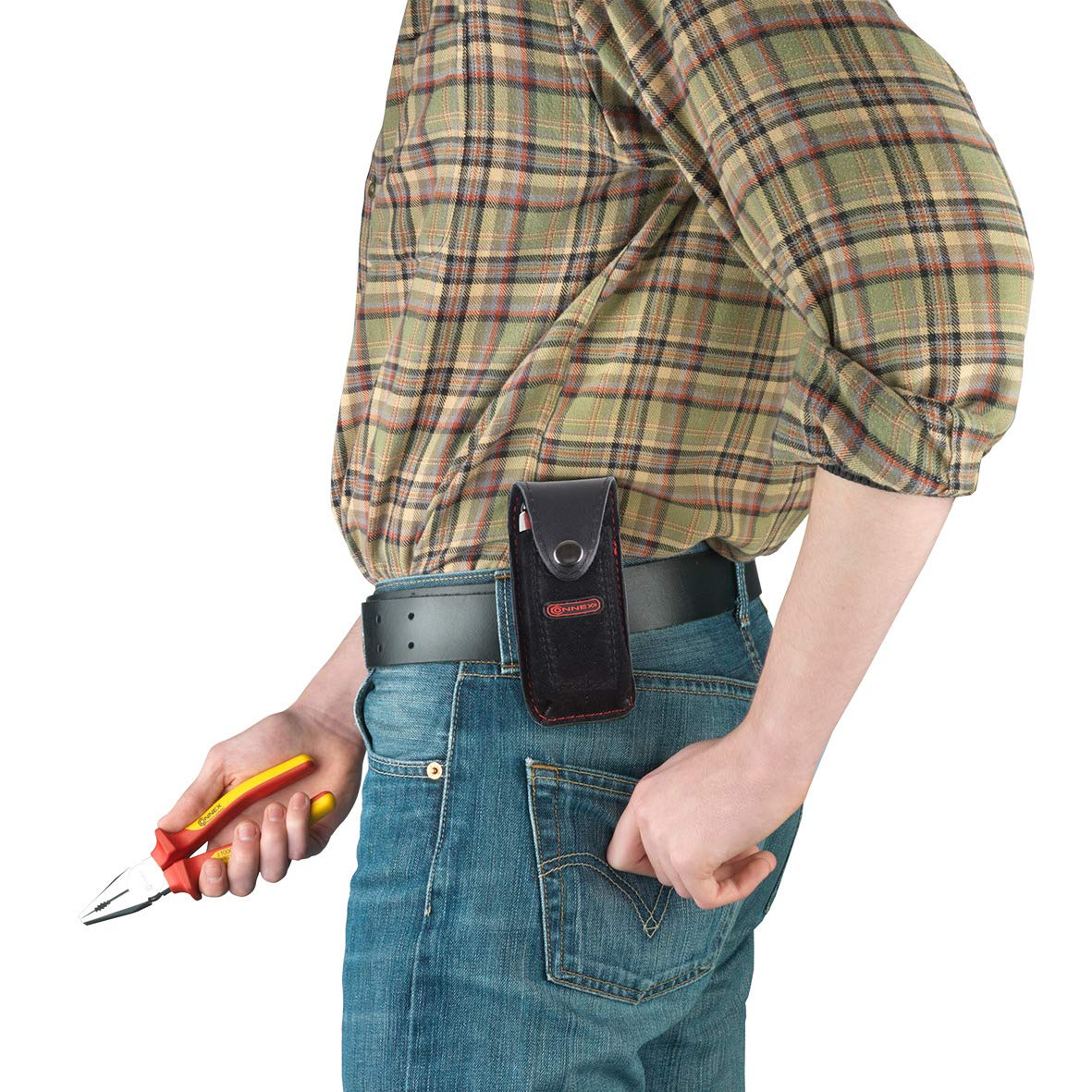 Mit G/ürtelschlaufe Robust /& Langlebig // Messerscheide // Werkzeugtasche f/ür G/ürtel // G/ürteltasche // COX951110 Aus Leder Connex Werkzeughalter Praktische Verschlusslasche