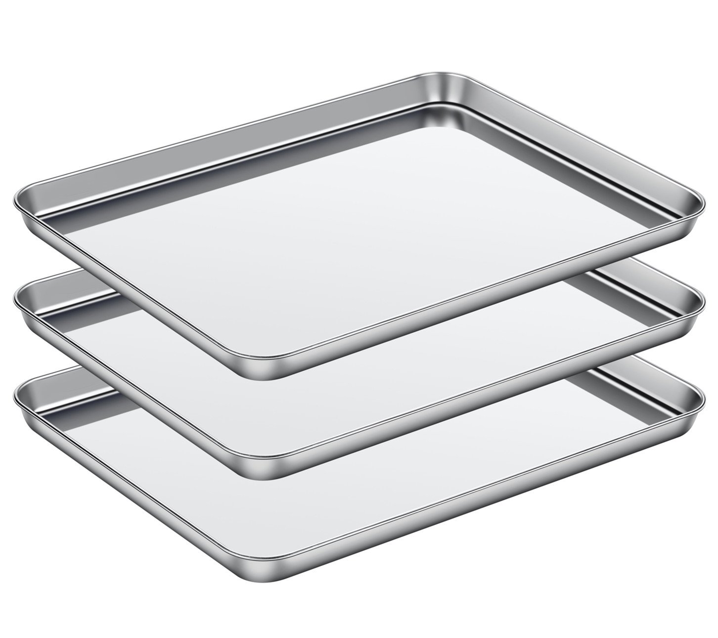 ASEL Baking Sheet Set of 3, Baking Pans 3 Pieces & Stainless Steel Cookie Sheets & Toaster Oven Tray Pans, Non Toxic & Healthy, Mirror & Easy Clean & Dishwasher Safe