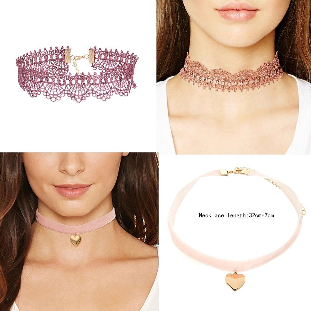 Lot de 7/colliers ras-du-cou en velours et en dentelle rose et rouge vintage ann/ées 1990 Pour femme et fille Style gothique /él/égant