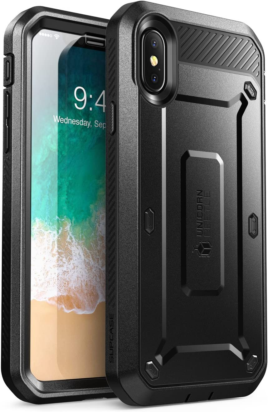 SUPCASE [Unicorn Beetle Pro Series] Case for iPhone Xs , iPhone X , Full-Body Rugged Holster Case with Built-In Screen Protector Kickstand for iPhone X 2017 & iPhone Xs 5.8 inch 2018 Release (Black)