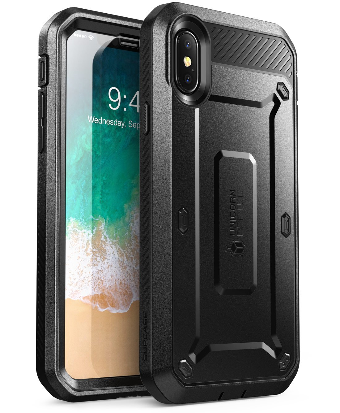 SUPCASE [Unicorn Beetle Pro Series] Case for iPhone Xs , iPhone X , Full-Body Rugged Holster Case with Built-In Screen Protector Kickstand for iPhone X 2017 & iPhone Xs 5.8 inch 2018 Release (Black) by SupCase