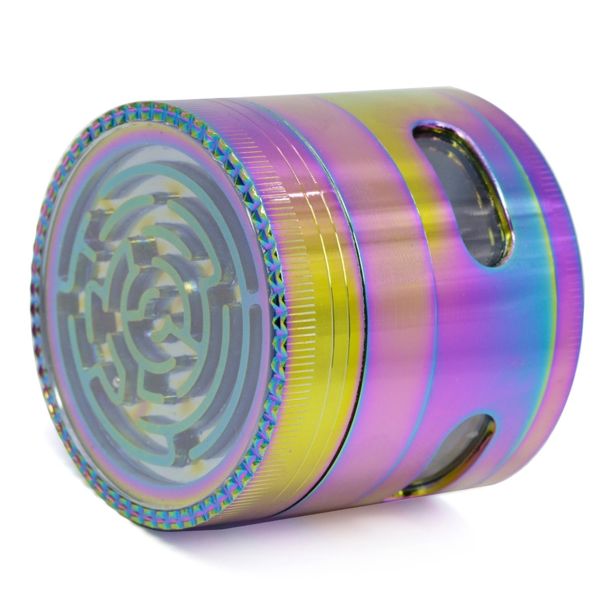 UTOPP 2.5'' Large Herb Grinder Colourful Ice Blue 4 Pieces Unique Grinder with Pollen Catcher for weed tobacco spices with Viewable Window