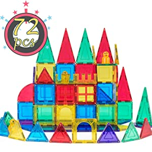 cossy 72 Pcs Magnetic Tiles, 3D Magnet Building Block Set with Rivets-Fastened for 3 Year Old & Up Kids, Learning & Bonding by Playing, Inspirational, Recreational Mulit-Color