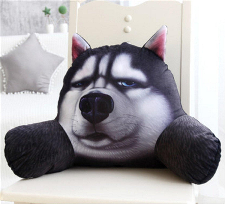 Skyseen 3D Dog Shaped Lumbar Support Backrest Pillow Waist Seat Back Cushion in Home Office School Car,C