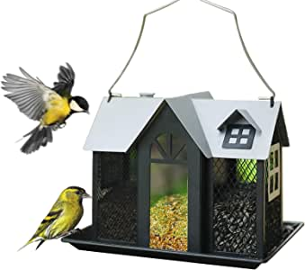 Kingsyard Bird Feeder House for Outside Metal Mesh Wild Bird Feeder with Triple Feeders for Finch Cardinal NOT Squirrel Proof