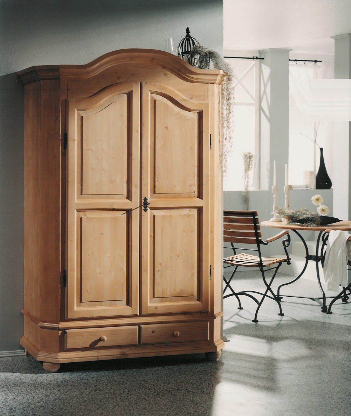 Gradel Schränke Bauernschrank mit 1 Kleiderstange, 1 Einlegeboden und 2 Schubkästen (zerlegbar) in Fichte massiv - Cortina lackiert