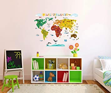 17bf57d01f Wandtattoo Wandsticker Weltkarte Kinderzimmer Bunt Amazon De Baby
